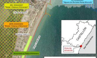Costes confirma que la platja d'Almenara té un impacte ambiental favorable