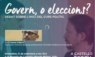 Podem Castelló inicia el curs polític amb una conferència del diputat nacional Txema Guijarro