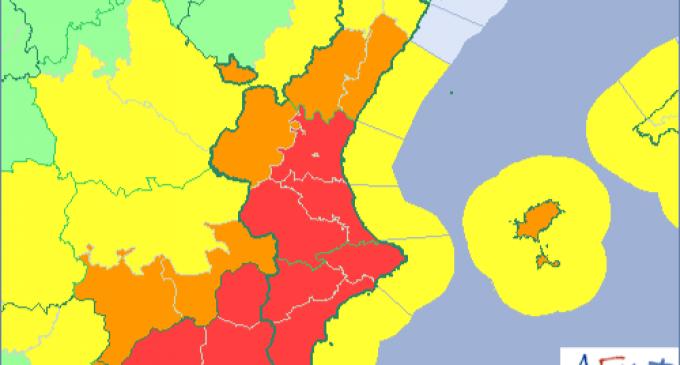 Alerta taronja per pluges en la meitat sud de Castelló després de la 'treva' de hui
