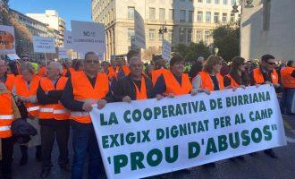 70 burrianenses reclaman en València medidas que dignifiquen la producción citrícola