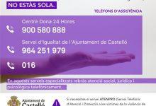 Castelló manté tots els serveis d'atenció a víctimes de violència de gènere durant l'estat d'alarma