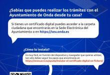L'Ajuntament d'Onda alenta el veïnat a realitzar els seus tràmits online