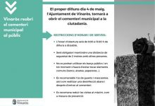 L'Ajuntament de Vinaròs reobrirà dilluns el cementeri municipal