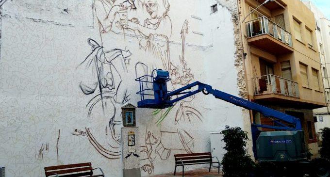 Benicarló s'ompli d'igualtat i multiculturalitat amb un gran mural al carrer del Riu