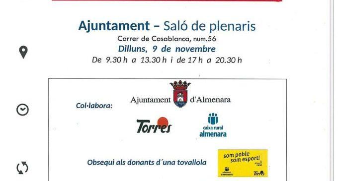 Almenara acollirà el 9 de novembre la primera marató de donació de sang
