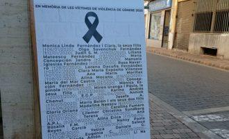 L'Ajuntament d'Almenara instal·la uns panells amb els noms de les dones assassinades per violència de gènere