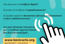 Benicarló habilita un servei de cita prèvia en línia per a realitzar tràmits municipals