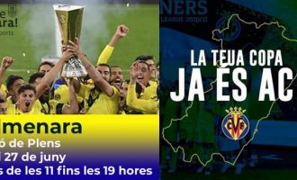La copa de la UEFA Europa League conquistada por el Villarreal C.F llega a Almenara