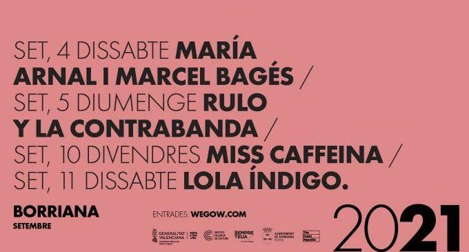 Lola Índigo, Rulo y La Contrabanda y Miss Caffeina, cabezas de cartel para los conciertos de la Misericordia de Borriana