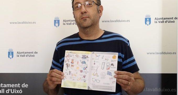 La Vall d'Uixó repartirà fullets informatius per a conscienciar sobre el reciclatge i els nous contenidors