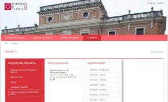 La Diputación de Castellón incorpora la cita previa para facilitar el derecho de acceso a la información pública vía telefónica o por videoconferencia