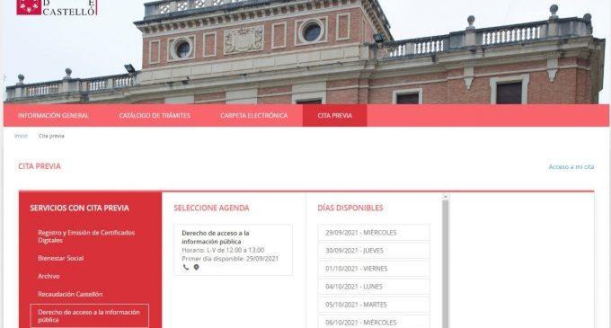 La Diputació de Castelló incorpora la cita prèvia per a facilitar el dret d'accés a la informació pública via telefònica o per videoconferència