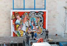 La plaça Major de Borriana ja llueix el tapís per a l'ofrena de les Falles 2021